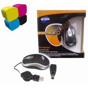 Mouse Alambrico Optical Usb Retractil Kode Negro