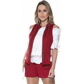 Colete Vermelho Suede Bordado Avizo Wear Tam 38