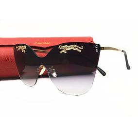 Oculos De Sol Cartier Cinza Espelhado Mulher + Acessórios 165347fa0d