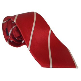 Corbata De Seda Italiana Roja Con Diagonales Blancas