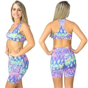 Bermudinha + Top Academia Conjunto Suplex Fitness Promoção