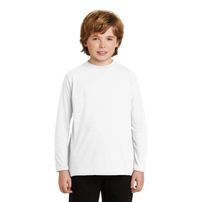 Playera Blanca Para Sublimar Adolescente Dry Fit Manga Larga