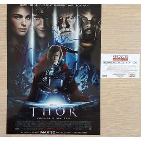 Thor Poster Autografado Por Tom Hiddleston & Chris Hemsworth