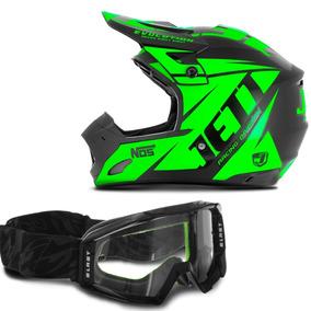 Capacete Cross Com Oculos Verde - Capacetes Pro Tork para Motos no ... 3d435b052d6
