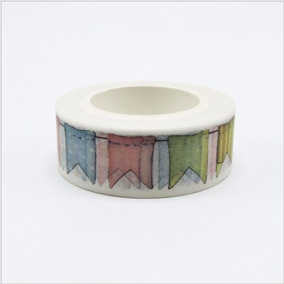 Fita Adesiva Washi Tape Scrapbook Bandeirolas 15mm X 10m