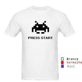 Camisa Camiseta Infantil Space Invaders Press Start Atari · 2 cores 28abae6c432