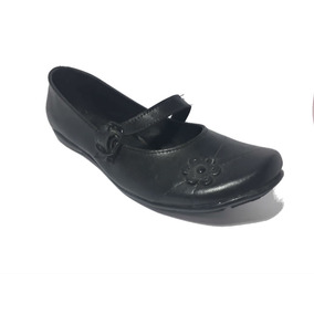 Calzado Escolar Color Negro Total Flor Con Herraje Para Dama