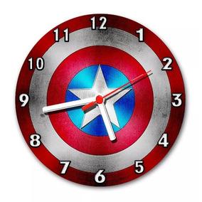 3cac8c9e260 Relógio Decoração Parede Heróis Escudo Capitão America 24 Cm