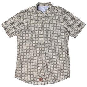 Camisa Estampa De Ladrilhos Camisologia Bege Com Marrom