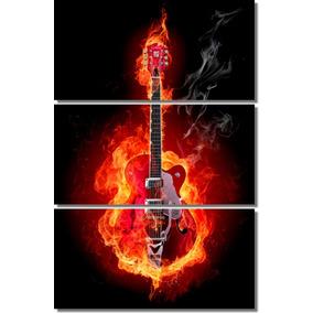Cuadro Guitarra Fuego Rock Musicos Bandas 120x80cm