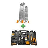 Combo Escalera Articulada 3x4 + Set 129 Piezas Herramientas