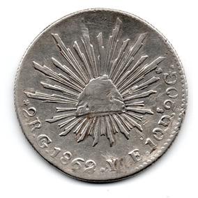 Antigua Moneda Guanajuato 2 Reales 1862