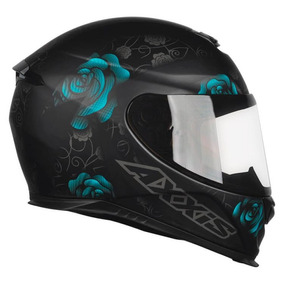 Capacete Axxis Eagle Flowers Preto Fosco Azul Rs1