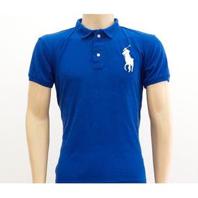 Camisa Polo Ralph Lauren Azul Marinho Gola Branca - Calçados 26cc9d582dbb3