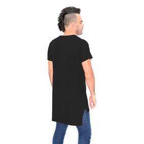 Camiseta Swag Barra Reta Desigual Longline Manga Curta
