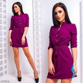 Camisa Solta Vestido Casual Gola Mangas 3/4 Botão Elegante