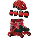 Patins Infantil 3 Rodas 33-36 Ladybug C/ Acessório Segurança