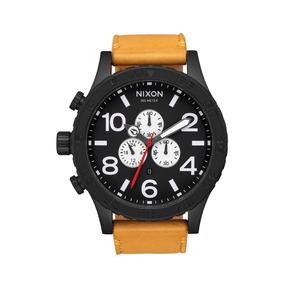 Reloj Nixon 51-30 Chrono Leather Black Goldenrod Original