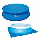 Cobertor Cubre Pileta Bestway 244cm + Tapiz Base Para Pileta