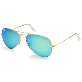 Ray Ban Aviador 3026 G Dourado Com Azul Espelhado Original f0ba4d0815