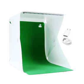 Mini Estúdio Fotográfico Fotos + Iluminação Led + 3 Fundos