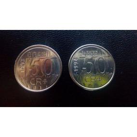 Moedas De 50 Cruzeiros Reais De 1993/1994 (2 Moedas)