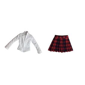 Escala 1:6 Mini Falda A Cuadros + Camisa Blanco Ropa Para 12