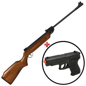 Carabina Pressão Chumbinho Qgk Madeira 5.5 + Pistola Brinde