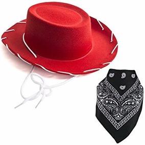 Sombrero Rojo De Vaquera Con Pañuelo Color Negro De Niña. c0bcf1aec56