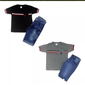 Kit C 10 Conjuntos Masculino Menino Camiseta E Bermuda Jeans