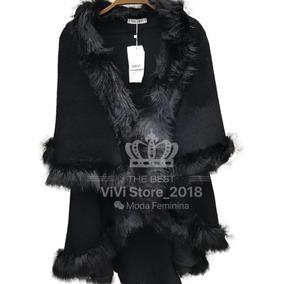 Poncho Pelerine De Lã Com Pelos Sintetico Feminina Moda 2018