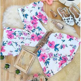 Conjunto Feminino Cropped Short Estampadado Floral Importado