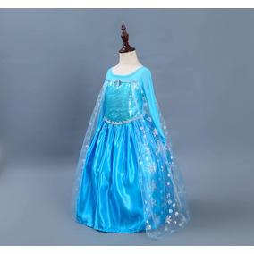 Vestido Disfraz Congelado Elsa Ni As Cosplay Falda