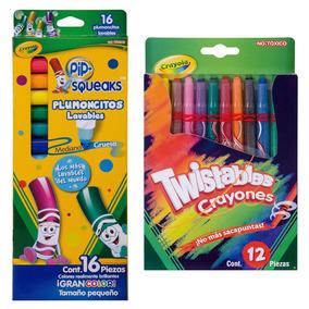 Kit Escolar 12 Colores Twisteables+16 Plumones Lav Crayola