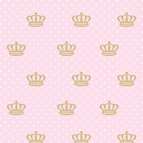 Papel De Parede Para Quarto De Menina Rosa Com Dourado