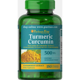 Turmeric Curcumina - Açafrão 500 Mg - 180 Cápsulas - Curcuma