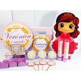 Kit Festa Infantil 200pçs Coroa Realeza Menina Personalizado