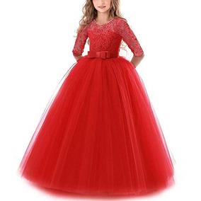 Vestido 4 A 14 Años De Niñas Color Rojo Fiesta Marca Nnjxd