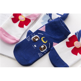 Calcetas Sailor Moon, Luna, Socks, Calcetines. 3 Pares.