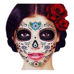 Tatuaje De Flores Glitter Brilloso Día De Muertos Halloween