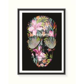 Pôster Caveira Floral - Médio