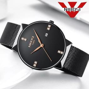 Relógio Nibosi Feminino Masculino 2323 Preto Com Dourado