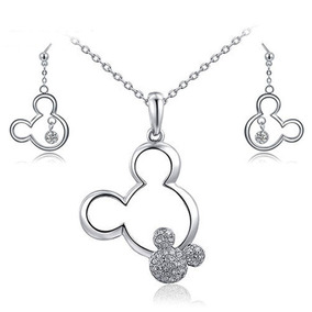 Set Joyería Collar Mickey Mouse Y Aretes Silver Disney