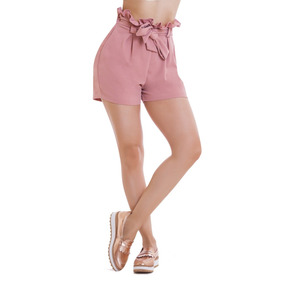 Short Rosa De Dama Ajuste En Cintura Devendi Denim Co.