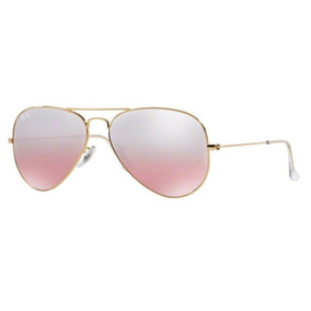 Oculos Sol Ray Ban Aviador Rb3025 001 3e 55mm Dourado Rosa D 7739c76fff