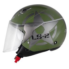 Capacete Ls2 Of559 Combat (aberto) Verde Fosco, Somos Loja