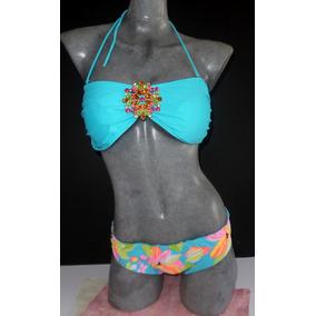 Traje De Baño Importado Bikini Azul Pedrería S Y M