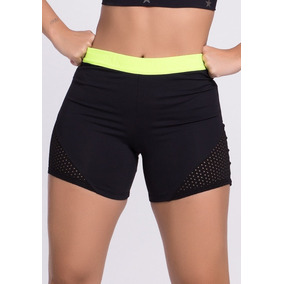 Shorts Fitness Feminino Microfibra Neon Flúor Dry Fit 0c8f1592bf0