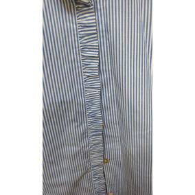 Camisa Poplin A Rayas Azul Y Blanca