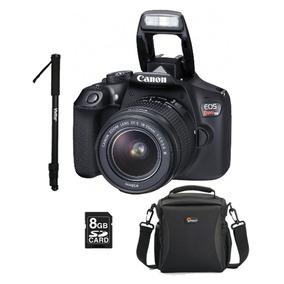 Câmera Canon Eos Rebel T6 C/ Lente + Monopé + Acessórios